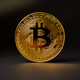 Gold Bitcoin Crypto Currency On Black Background - PhotoDune Item for Sale