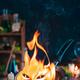 Grumpy fire spirit on a pan, summon spell - PhotoDune Item for Sale