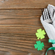 Flat lay view at St. Patricks day set with silverware fork, spoon and napkin - PhotoDune Item for Sale