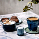 Cup of coffee, milk, sugar and cookies on ceramic table. Sun light, shadows - PhotoDune Item for Sale