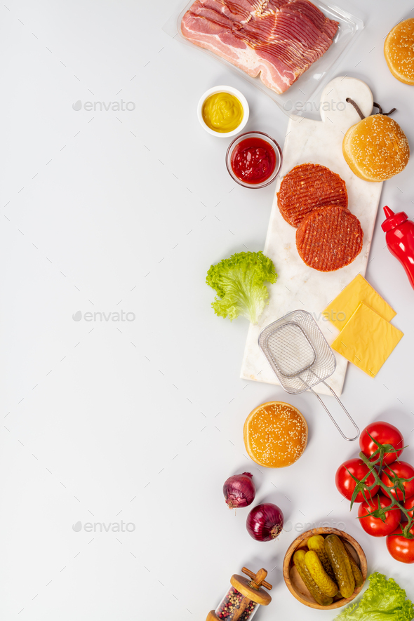 Ingredients for making Homemade hamburgers, flat lay, copy space - Stock Photo - Images