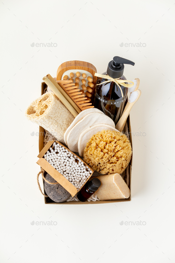 Zero waste beauty body care items on color paper background - Stock Photo - Images