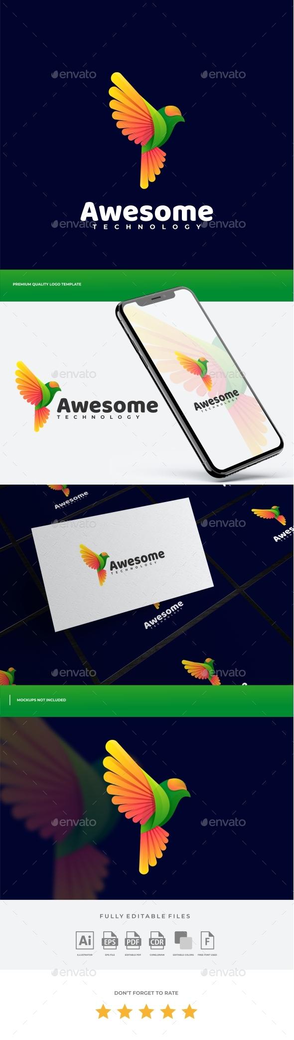 Bird Gradient Colorful Logo Template