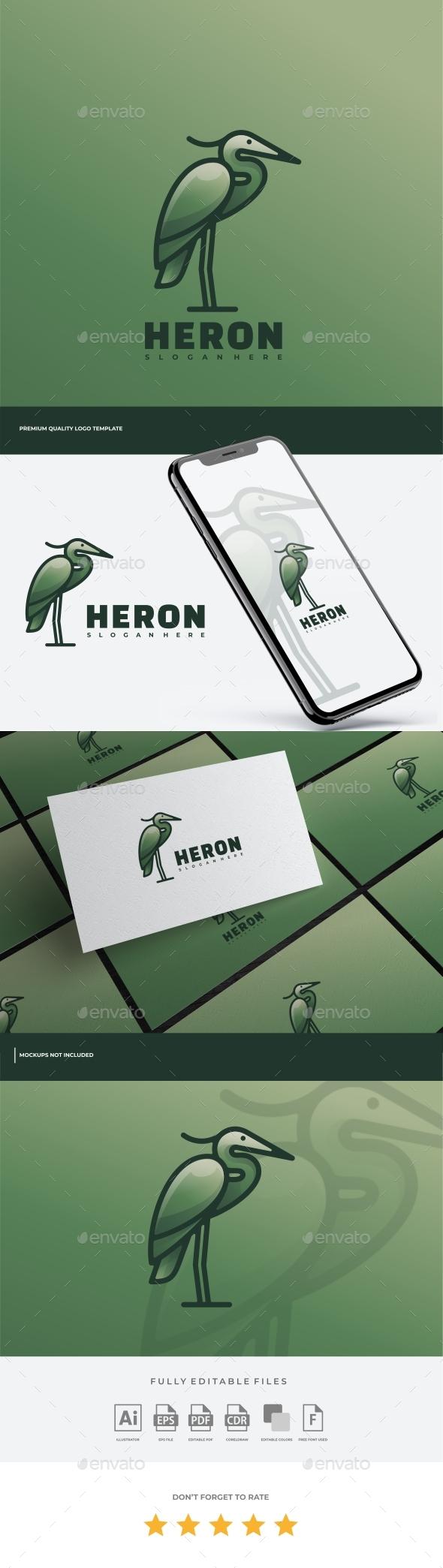 Heron Simple Mascot Logo Template