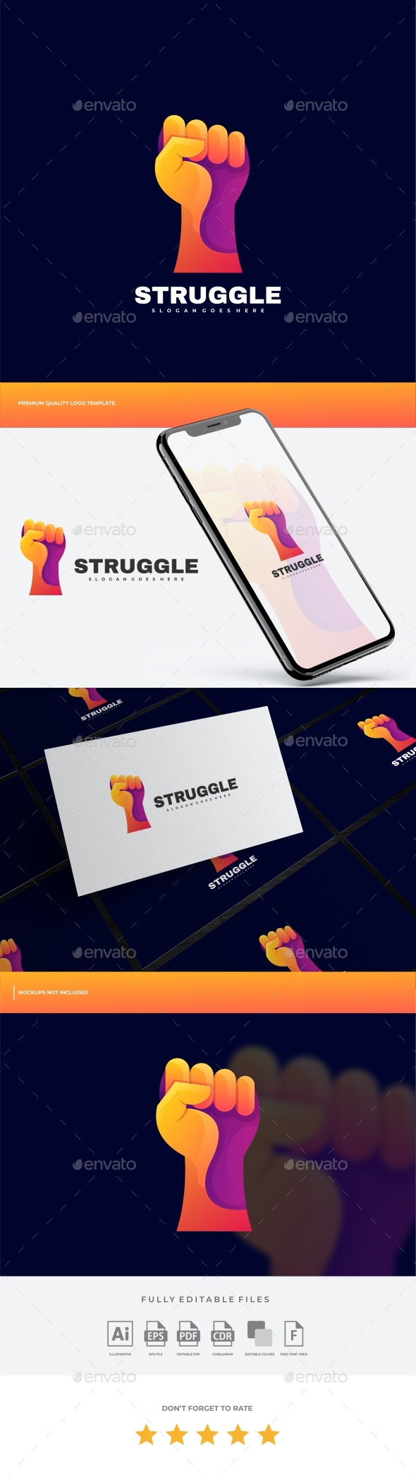 Hand Struggle Gradient Colorful  Logo Template