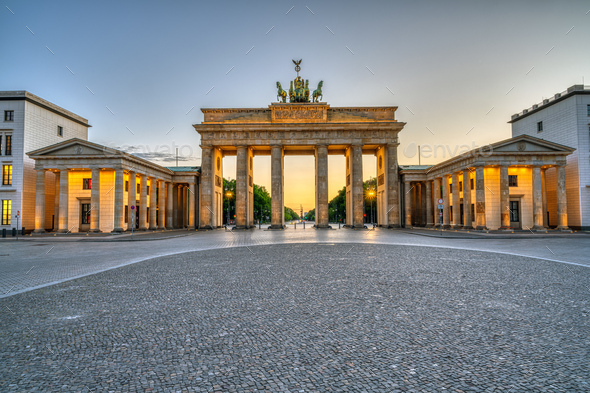 The iconic Brandenburg Gate in Berlin - Stock Photo - Images