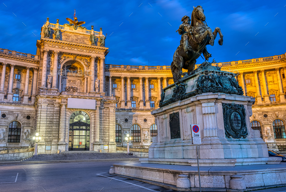 The Prinz Eugen Statue with part of the Hofburg - Stock Photo - Images
