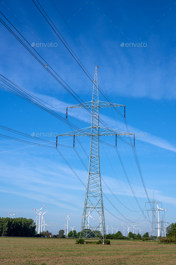 Electricity pylon and power lines - Stock Photo - Images