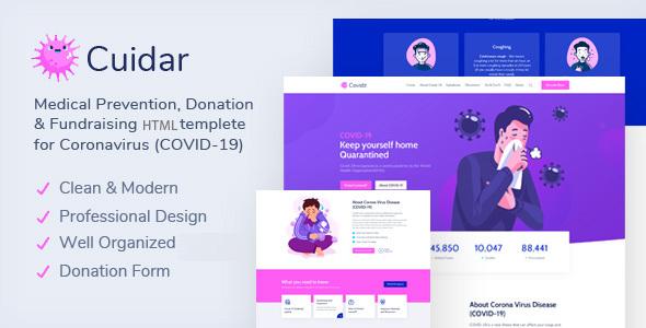 Fabulous Cuidar - Coronavirus Medical Prevention, Donation & Fundraising HTML Template