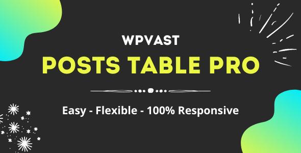 Wpvast Posts Table Pro