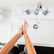 Woman washing hands with soap under the running water from above - PhotoDune Item for Sale