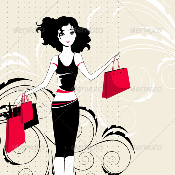 Girl with purchases - Vectors