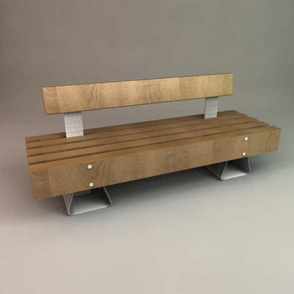 Designer Outdoor Bench - 3DOcean Item for Sale