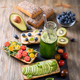 Healthy Sandwiches with Berries, Avocado and Bottle of Smoothie - PhotoDune Item for Sale