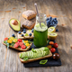Vegan Sandwiches and Green Smoothie in Bottle for Healthy Breakfast - PhotoDune Item for Sale
