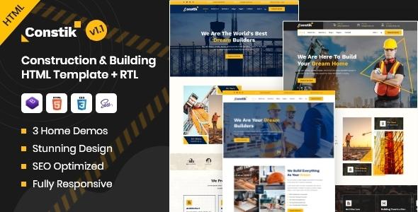 Extraordinary Constik - Construction & Building Company HTML Template