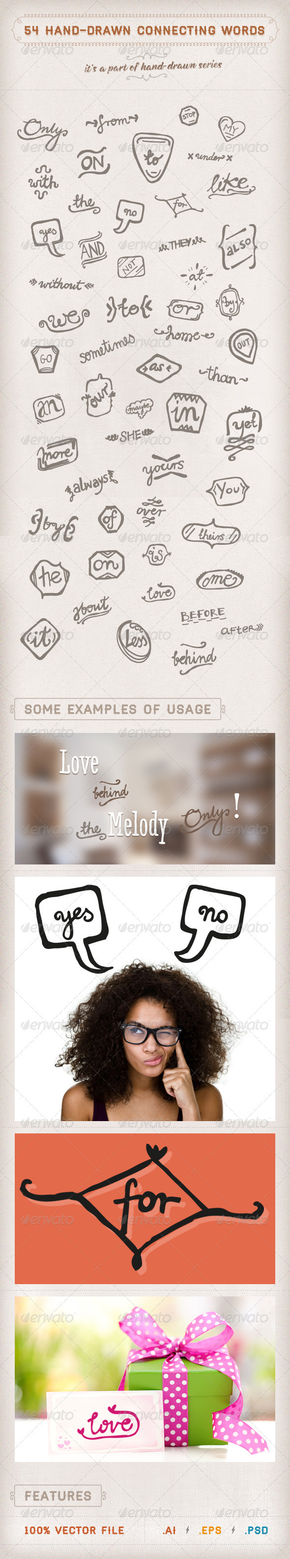 54 Hand-drawn Connecting Words - Decorative Symbols Decorative