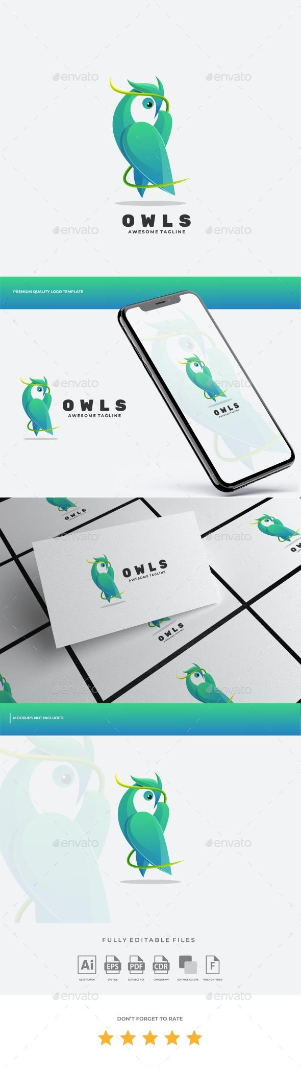 Owl Gradient Logo Template