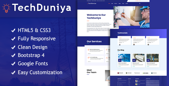 Special TechDuniya Responsive HTML5 Electrical Service Template