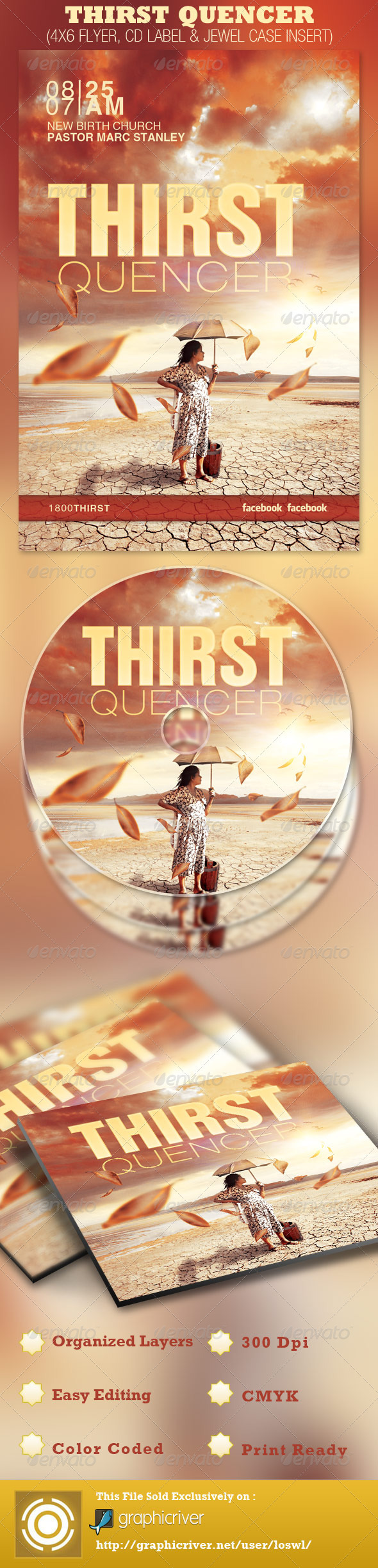 Thirst Quencher Church Flyer and CD Template - Church Flyers