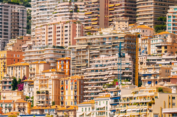 Monaco, Monte Carlo Architecture Background. Many Houses, Buildings - Stock Photo - Images