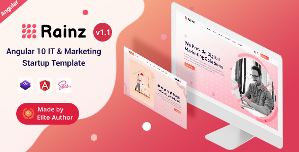 Rainz - Angular 10+ IT & Marketing Startup Template
