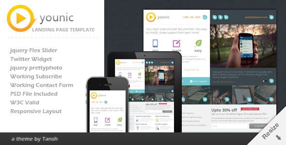 Younic responsive landing page by tansh themeforest for Jquery landing page templates