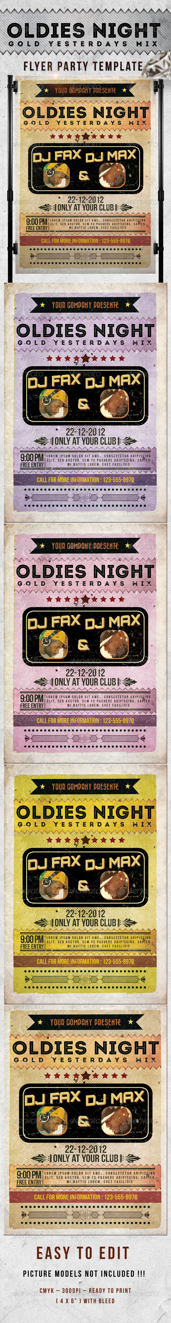 Oldies Night Party Flyer Template - Clubs & Parties Events