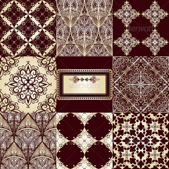 8 Seamless Patterns and Frame - Patterns Decorative