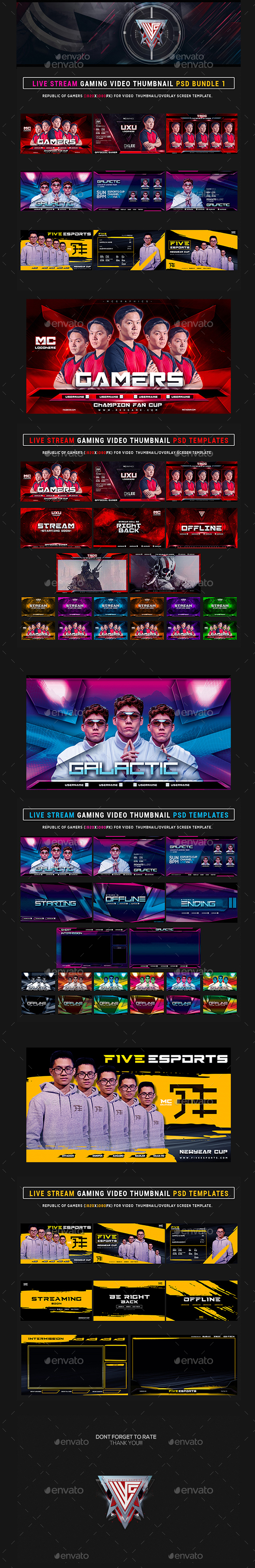 Esports Social Media Stream Gaming Video Thumbnail / Banner Overlay Photoshop Templates Bundle 1
