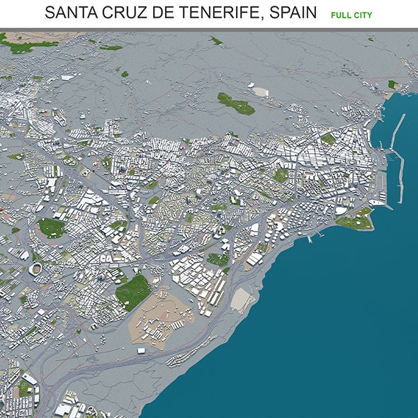 Santa Cruz De Tenerife city Spain 3d model 30km