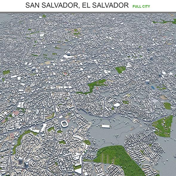 San Salvador city El Salvador 3d model 30km