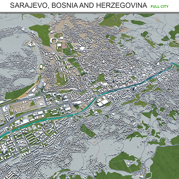 Sarajevo city Bosnia and Herzegovina 3d model 40km