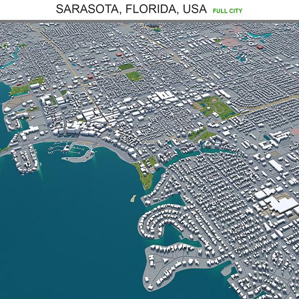 Sarasota city Florida  USA 3d model 30km