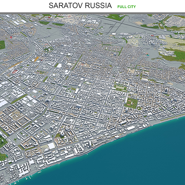 Saratov city Russia 3d model 60km