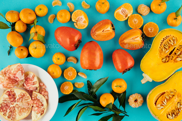 Orange fruits and vegetables - Stock Photo - Images