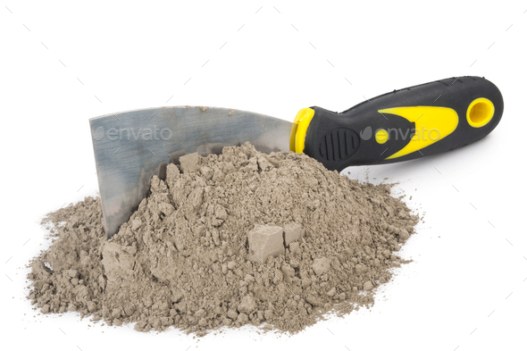 Gray cement powder with trowel - Stock Photo - Images