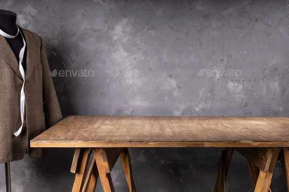 wooden table and suit or blazer jacket - Stock Photo - Images
