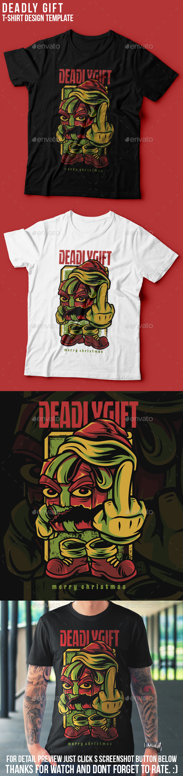 Deadly Gift Happy Christmas T-Shirt Design