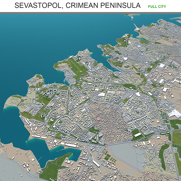 Sevastopol city Crimean Peninsula 3d model 100km