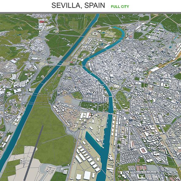 Sevilla city Spain 3d model 40km