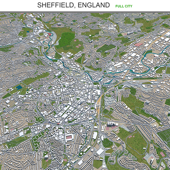 Sheffield city England 3d model 40km