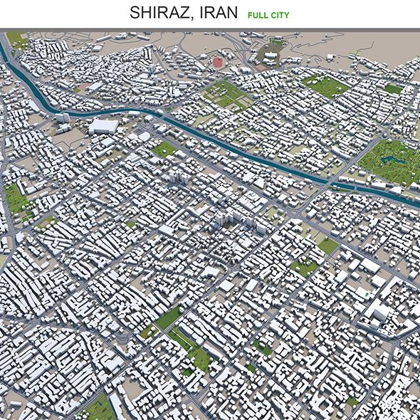 Shiraz city Iran 3d model 80km