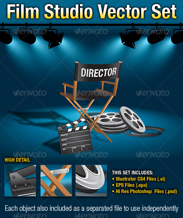 Film Studio Vector Set - Objects Vectors