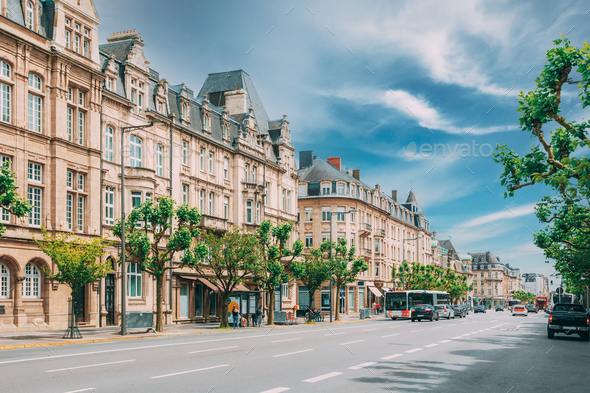 Luxembourg. High Authority of the European Coal and Steel Community. Traffic In street - Stock Photo - Images