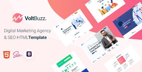 Excellent VoltBuzz - Digital Marketing Agency HTML Template