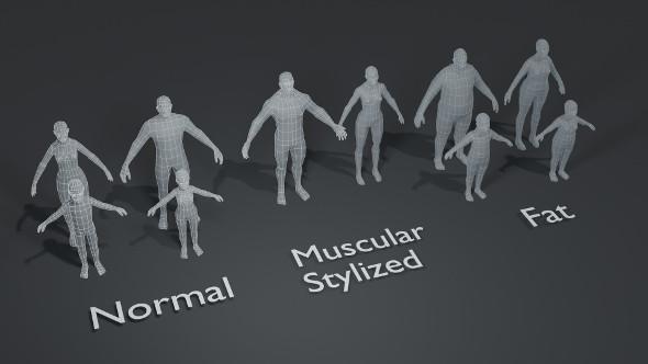Human Body Base Mesh 10 3D Models Pack 1000 Polygons