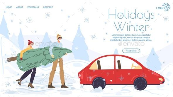 Flat Cartoon Characters Happy Holidays Vector