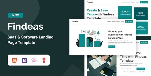 Excellent Findeas – Saas & Software Landing Page Template