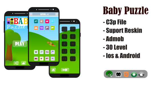 Baby Puzzle Game HTML5 + Admob (Construct 3)